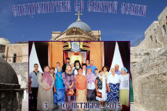 Группа паломников Новороссийской епархии на Святой Земле на аудиенции у Иерусалимского Патриарха Феофила III